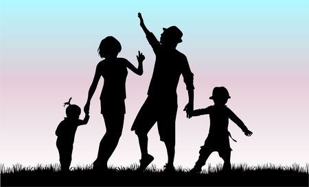 happy family outdoor: Family silhouette.