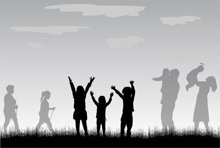 silueta niño: Grupo de personas Vectores