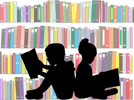 woman reading book: Children reading the book. Illustration