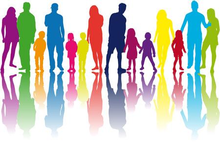 Family silhouettes Vettoriali