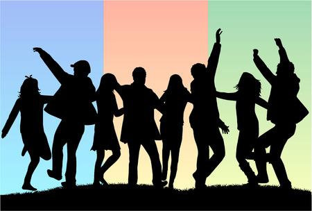 teenager: Dancing people silhouettes