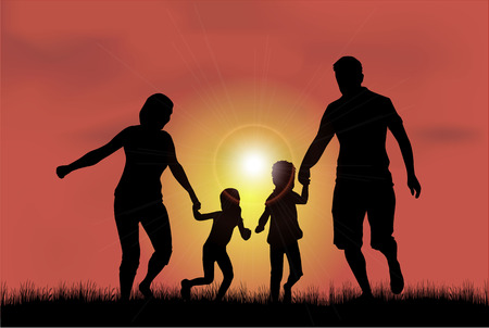 silueta humana: Siluetas de la familia en la naturaleza.