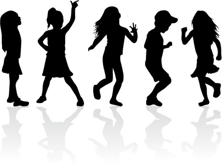 dancing silhouettes: Family silhouettes Illustration