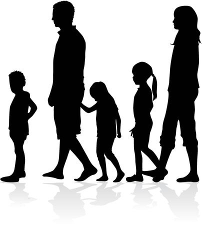 son of man: Family silhouettes Illustration
