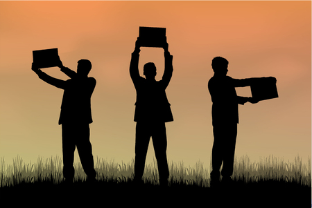grupo de hombres: Manifestación - un grupo de personas que protestaban.