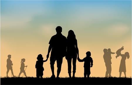 parejas caminando: Grupo de personas Vectores