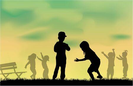 silueta niño: grupo de siluetas de los niños