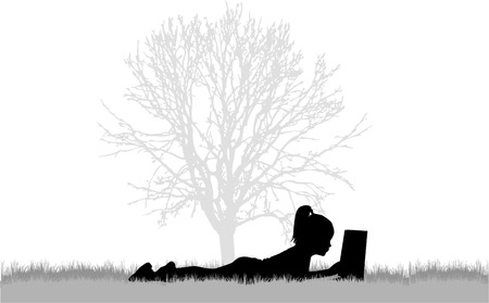 grass silhouette: Reading books on nature. Illustration