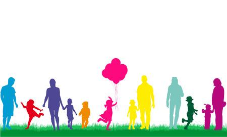 Family silhouettes 일러스트