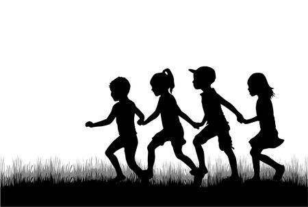 silueta niño: Niños de la silueta en la naturaleza.