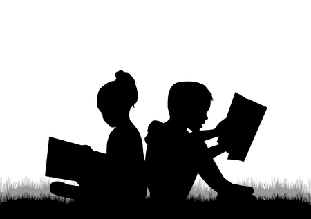 reading: Children reading the book. Illustration
