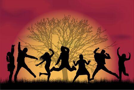 black people: Dancing people silhouettes