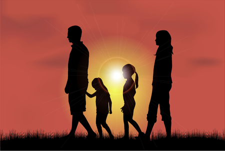 couple outdoor: Family silhouettes. Illustration