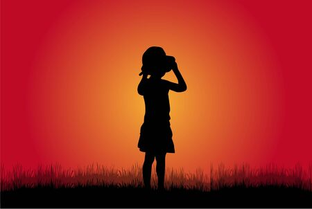 girl happy: Children silhouette in nature .