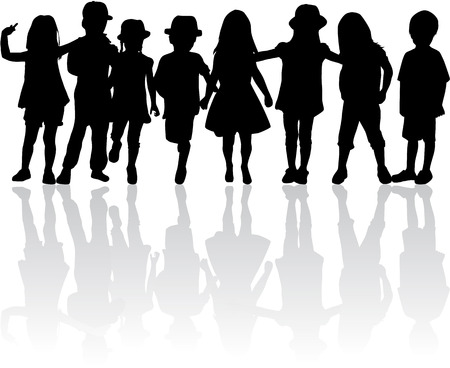 sibling: Children silhouettes.