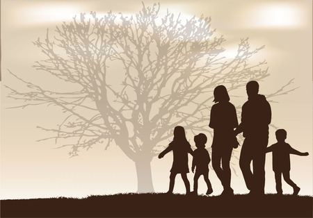 walk: Family silhouettes. Illustration