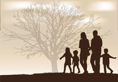 arbol genealógico: Siluetas de la familia.