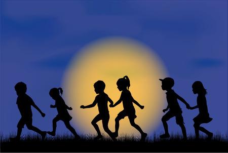 Kinderen silhouet in de natuur.