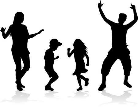 hip hop: Dancing people silhouettes