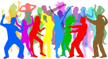 dancing silhouette: Dancing people silhouettes.