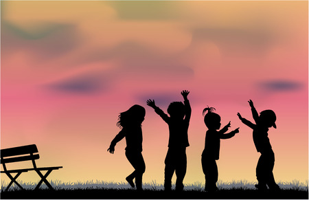 family fun: group of childrens silhouettes