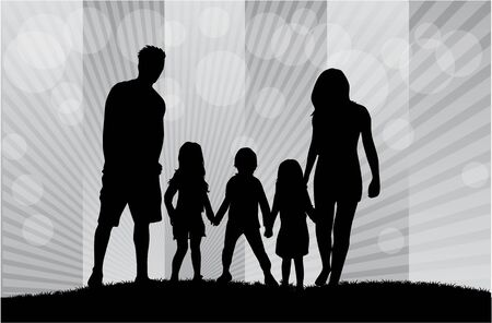 hand silhouette: Family silhouettes. Illustration