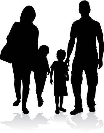 silhouettes: Family silhouettes Illustration