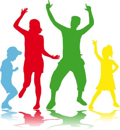dance shadow: Dancing people silhouettes