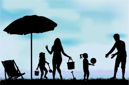 silueta niño: Familia de vacaciones.