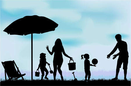 beach: Family on vacations. Illustration