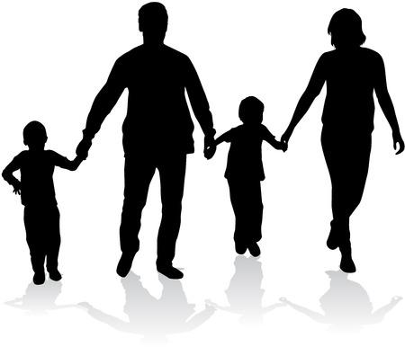 Family silhouettes. Vettoriali
