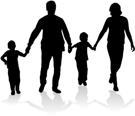 Family silhouettes. Stock Illustratie
