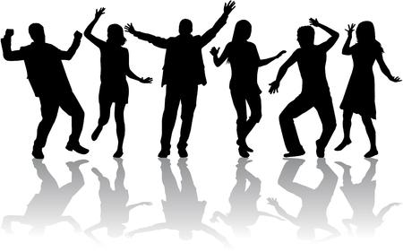 Dancing personnes silhouettes  Banque d'images - 46236478