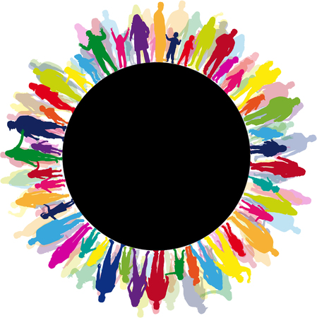wereldbol: Familie silhouetten