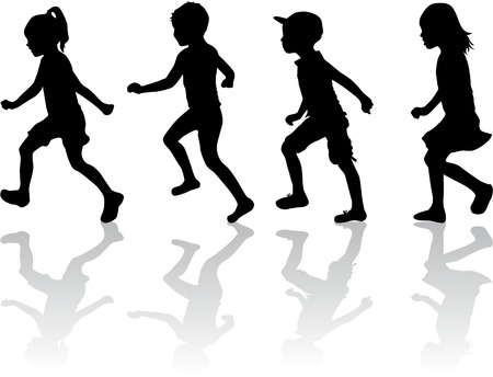 Children silhouettes. Banco de Imagens - 46236479