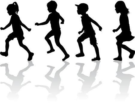 child walking: Children silhouettes.