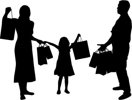 shopping bag: Family shopping. Silhouettes conceptual.