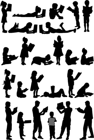 book stack: Silhouettes of people with a book.