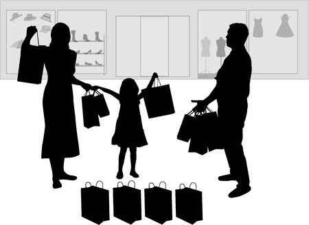 shopping family: Family shopping. Silhouettes conceptual.