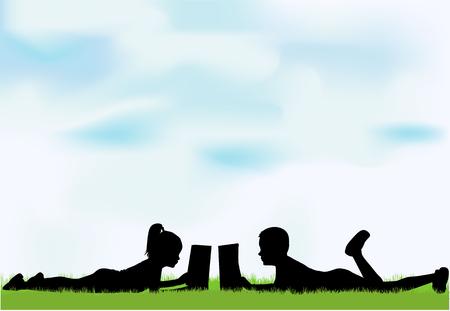 Children reading the book. Ilustração