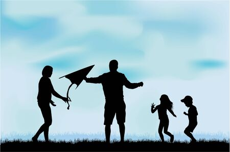 kite: Family silhouettes in nature.