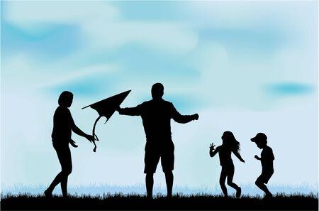 papalote: Siluetas de la familia en la naturaleza.