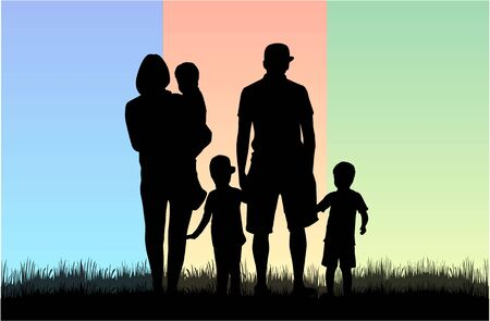 family fun: Family silhouettes. Illustration