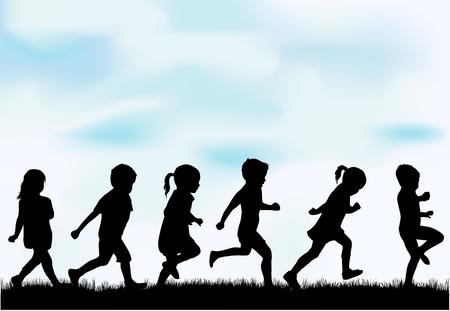 silueta: Niños siluetas.