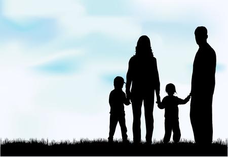 freedom couple: Family silhouettes. Illustration
