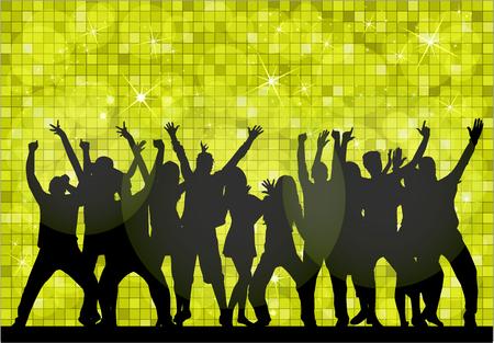 gente che balla: Danza sagome di persone. Vettoriali