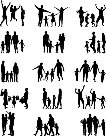 silhouette woman: Family silhouettes. Illustration