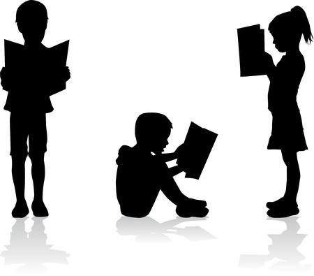 kinderschoenen: Silhouet van een kind het lezen van een boek.