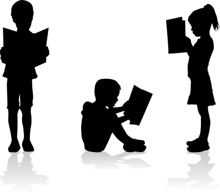 aprendizaje: Silueta de un niño leyendo un libro en. Vectores