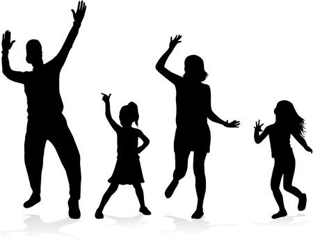 tanzen: Tanzende Leuteschattenbilder Illustration